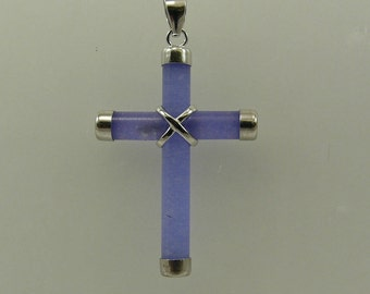 Lavender Jade Cross Pendant with Sterling Silver