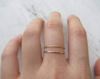 Ultra thin gold ring, set of 2//14k gold fill ring, hammered gold ring, lined ring, stacking rings, dainty ring, delicate