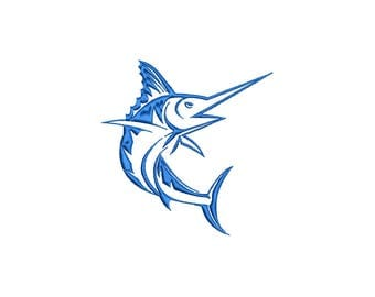 MARLIN - SWORDFISH - machine embroidery design - Instant Download