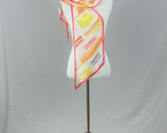 "80s Scarf - Oscar de la Renta - Red Orange Yellow Stripes - All Silk - Saks Fifth Avenue - Vintage 1980s - 57"" x 8"""