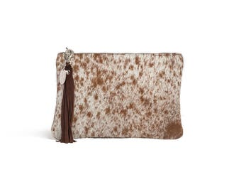 Speckled Cowhide Clutch | Animal Print Clutch | Luxury Clutch | Small Cowhide Bags