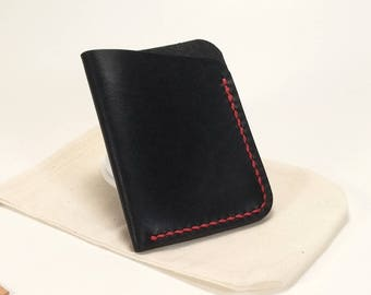Handmade leather slim wallet, Minimalist Leather Card Wallet, Black leather card wallet, Black with red stitching, Upcycled leather