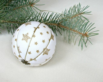 white Christmas ball decoration gold stars decor fabric Xmas bauble Christmas nursery Shabby chic Winter holiday decor Eco friendly tree toy