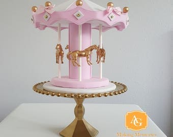 Carousel Cake Topper /  centerpiece - pink, white, gold & pink bows