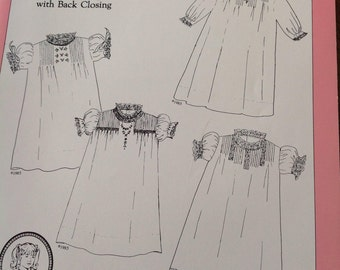Baby Daygowns Book 1, Daygowns with back closing, heirloom sewing, vintage heirloom sewing, vintage daygown patterns,  Daygown with tucks