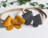 Baby Girl Headband - Mustard and Gray - Baby Headbands - Storybook Headband Set in Fabulous Fall