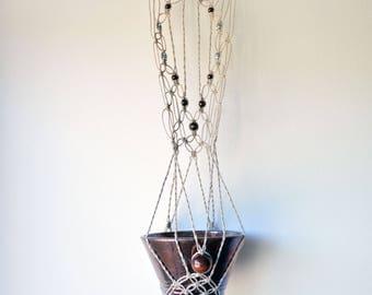 Macrame Hanging Raku Pot