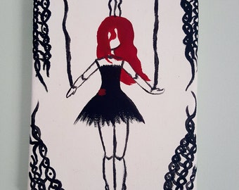 Puppet Girl, Canvas Art, Gothic, Acrylic Painting, Decor, Gift