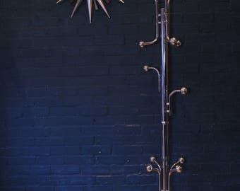 Italian Mid Century Chrome Coat Stand upon a Marble Base and Numerous Bulbs for hanging garments - 1970's