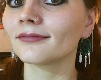Blue Green Purple Orange earrings Dreamcatcher Native American Style Dream Catcher earrings  boho earrings Native American Earrings Kalindi