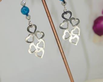 "earrings with gemstone ""hearts"""