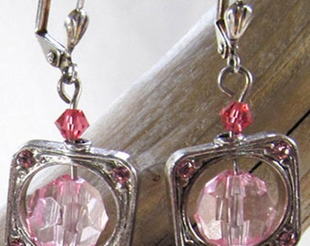 Romantic Pink Glass & Crystal Drop Earrings - Valentine Gift For Her - Pink Framed Dangle Earrings - Bridal Jewelry