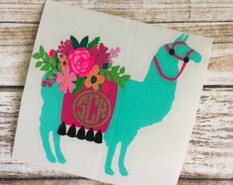 Llama Monogram Decal | Floral Llama Monogram Decal | Alpaca Decal | Yeti Decal | Car Decal | Laptop Decal | Monogram Decal | Floral Decal