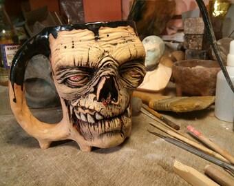 Coffee Zombie Mug ceramic, Zombie Large Mug, ceramics Zombie cup, handmade,  men gift, face mug, large  mug  0.5  liter  Face Mug gift mug