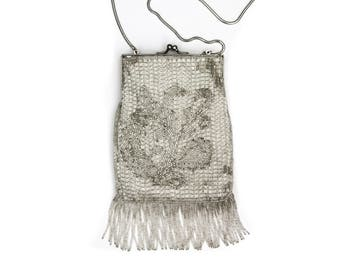 Silver Beaded Flapper Purse Lord and Taylor
