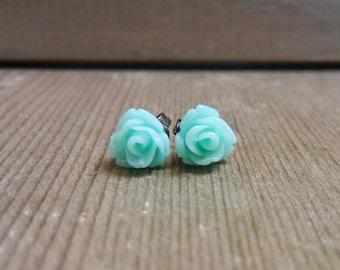 Flower earrings - Mint Green, Mini