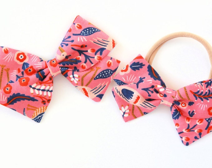Girls Hair Bows and Clips - Rifle Paper and Co -  Les Fleurs - Tapestry - Rose