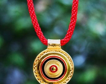 Rope Necklace with Gold Filled Precolumbian Pendant