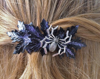 Halloween Hair Barrette, French Hair Barrette with Spider