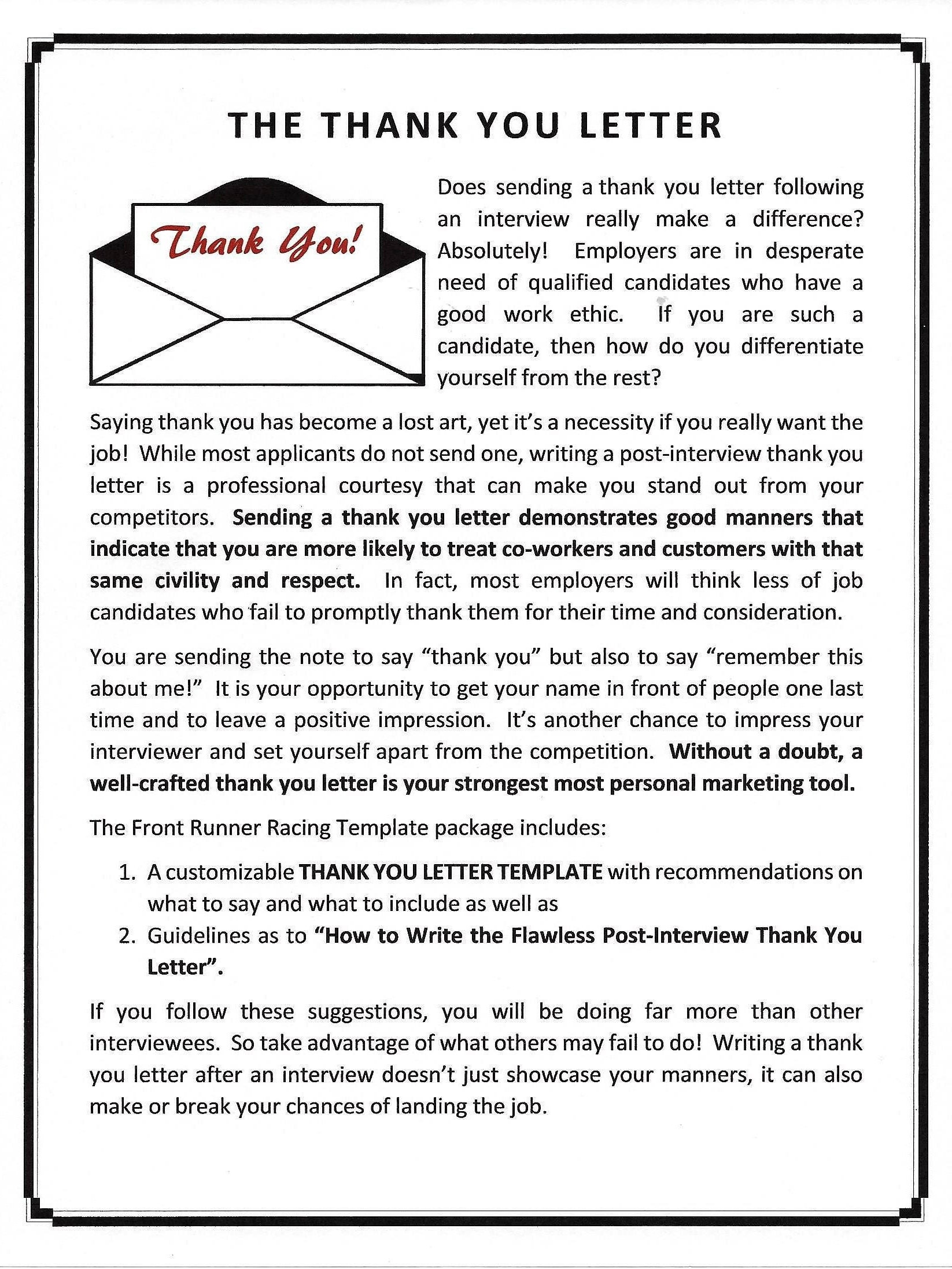 post interview thank you letter template