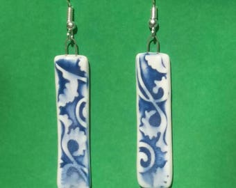 Porcelain earrings in a Delftware fragment style - inclides delivery within Australia