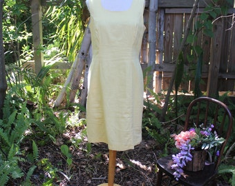 90's Yellow Linen and Cotton Shift Dress - M