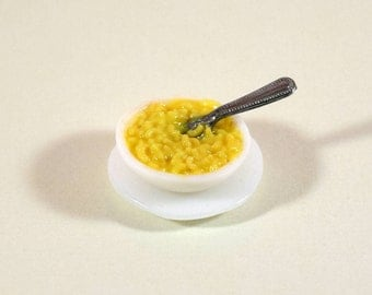 Miniature Macaroni and Cheese, Miniature Dollhouse Food, 1:12 Scale