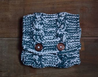 Knitted Kindle Pouch - Blue Jean & Blue with Cables
