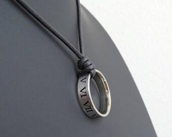 Roman Numerals Necklace, Roman Numerals Ring Necklace, Roman numerals pendant, Mens Leather Necklace, Surfer Necklace, Screw Ring Pendant,