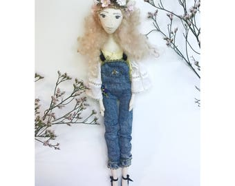 RESERVED JULES Collectible Handmade Fabric Art Doll OOAK Textile Soft Sculpture