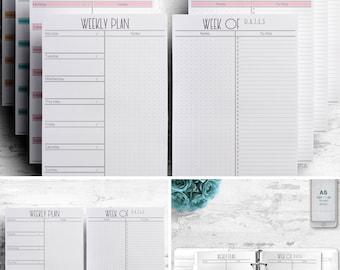 3 in 1 Weekly Planner Printable, Half A4 A5 Letter, Agenda Printable planner Planner inserts Planner pages Filofax Kikki K Bullet journal