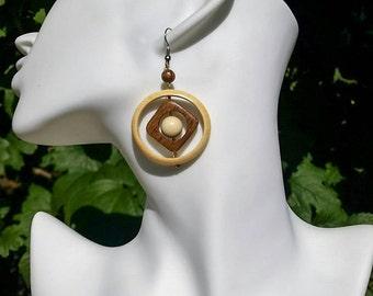 Wooden Jewelry, Wood Earrings - Lightweight Jewelry, Circle Dangle Wood Earrings