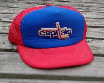 Killer 80's Vintage Washington Capitals Red White & Blue Cheesegrater Snapback Baseball Cap