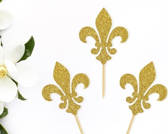Fleur de Lis Cupcake Toppers, Glitter, Mardi Gras, New Orleans, French, Parisian, Quebec, (set of 12) Gold, Silver, Rose Gold,Bronze,Black
