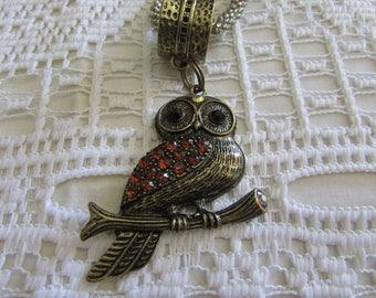Vintage Owl Pendant/Vintage Owl Necklace/Vintage Owl Jewelry/Vintage Owl Jewellry/Vintage Boho Owls - FREE SHIPPING U.S.A.!!!