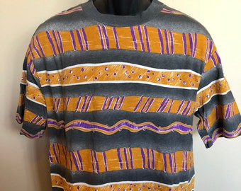 80s 90s Striped Shape Shirt Vintage Tee Neon Crew Saved By The Bell Retro Rare Geometric Angels Flight Orange Purple Gray Made in USA Large