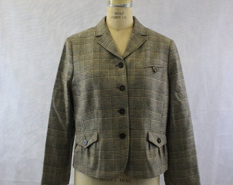 Late 90's does 40's Vintage Beige and Brown Plaid Jacket with Velvet Elbow Patches by Faconnable | Striped Tweed