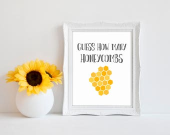 "Guess How Many Honeycombs 8""x10"" Bee Baby Shower Decorations 