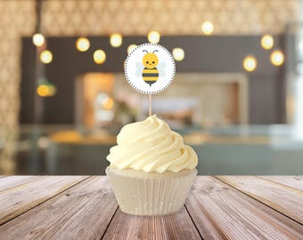 Bee Baby Shower Printable Cupcake Toppers || Printable Bee Gender Reveal Decorations || Gender Reveal Party Ideas (DIGITAL PRODUCT)