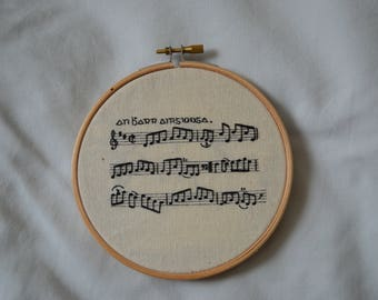 Traditional Irish session sheet music hand embroidery