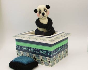 Felted panda bear miniature in a keepsake treasure box, needle felted sweet panda with hand decorated wood box,one of a kind felt panda