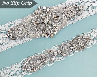 Elegent antique ivory Wedding Garter Set NO SLIP grip vintage rhinestones bridal garter