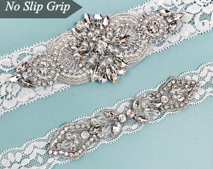 Elegent antique ivory Wedding Garter Set NO SLIP grip vintage rhinestones bridal garter