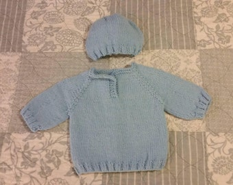 Knit Baby Hat and Sweater