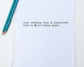 Custom Typewriter Wedding Vows Print | Cotton Anniversary Gift for Men | 2nd Anniversary Gift for Him or Her | Wedding Vow Renewal Gift