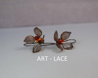Rustic bronze stud earrings for women Flower with long stem Bronze earrings Hawaiian earring Gift for teen Flower girl earring Birthday gift