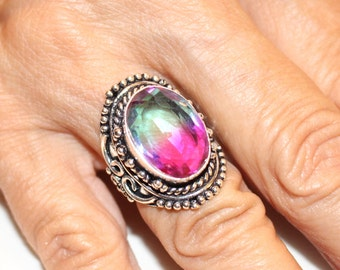 Watermelon Tourmaline Ring- size 6 3/4!