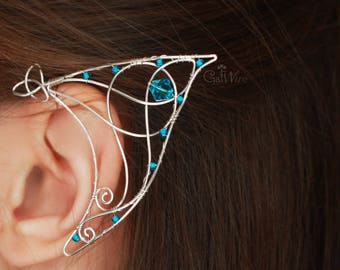 Celtic knot Elven ear cuffs Fantasy earcuffs Silver elf ears Blue Pair of fairy earcuffs Renaissance pattern Lotr larp jewelry Gift for her
