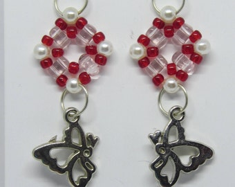 Beaded earring, butterfly hexagon, miyuki super duo, weave ring red, white pink silver, handmade jewelry, unique, limited edition, adorable