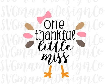 Thankful Little Miss Girl Thanksgiving Iron On SVG Cut File for Cricut and Silhouette